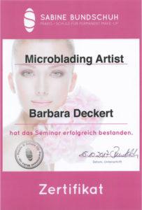 Zertifikat Microblading Artist